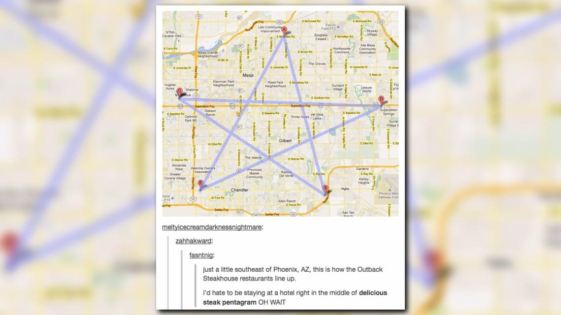 Chandler Outback Steakhouse Closes Ruining An Internet Meme - Pentagram on us map